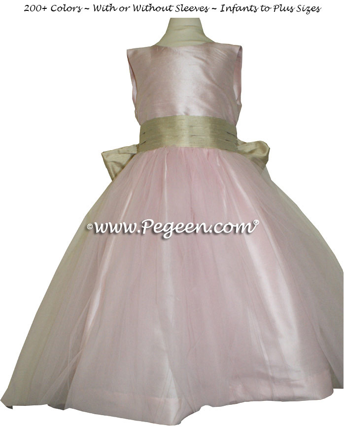 Peony Pink and Summertan Flower Girl Dresses Style 356
