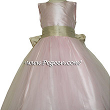 Peony pink and summer tan flower girl dress