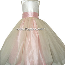 Peony Pink and Ivory Silk Tulle Flower Girl Dresses from Pegeen