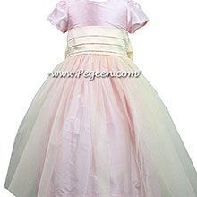 Petal Pink and Bisque Silk flower girl dresses