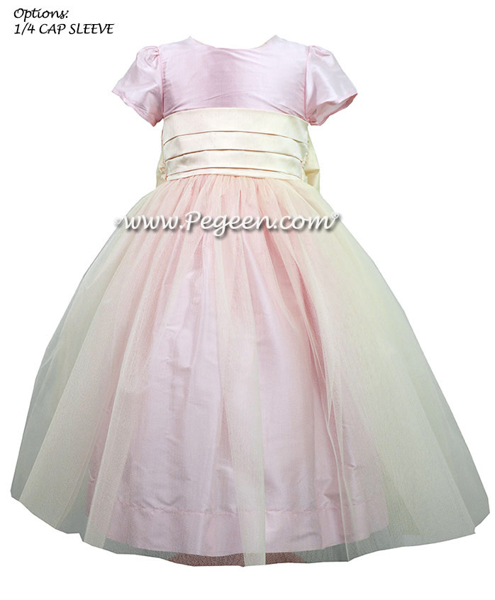 Silk flower girl dresses and Ring Bearer Suit in Pink  | Pegeen