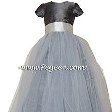 Platinum and Pewter Silk Flower Girl Dresses by PEGEEN CUSTOM FLOWER GIRL DRESSES