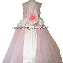 Ballet pink and Bisque Silk Flower Girl Dresses Style 356 from Pegeen with V Back and flowers