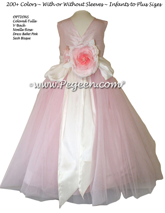 Ballet pink and Bisque Silk Flower Girl Dresses Style 356 in silk and tulle