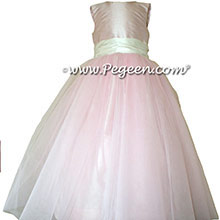 Ballet pink and Bisque Silk Flower Girl Dresses Style 356 from Pegeen