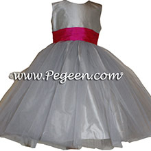 Platinum and Cerise (hot pink) Silk Flower Girl Dresses by PEGEEN