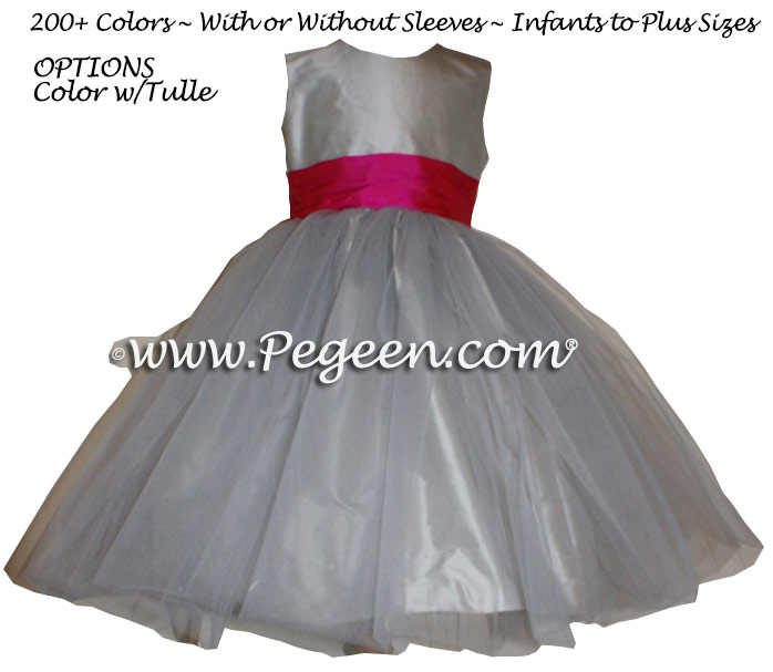 Flower Girl Dress in Platinum Gray and Cerise (hot pink) Silk | Pegeen
