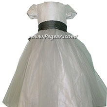 Platinum and Medium Gray Silk Flower Girl Dresses and Gray Tulle by PEGEEN