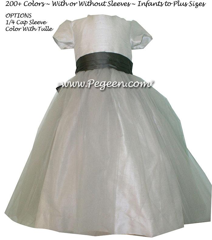 Custom Flower Girl Dress in Silk Platinum and Medium Gray | Pegeen