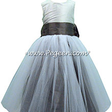 Platinum, Pewter and Medium Gray Silk Tulle Flower Girl Dresses by PEGEEN