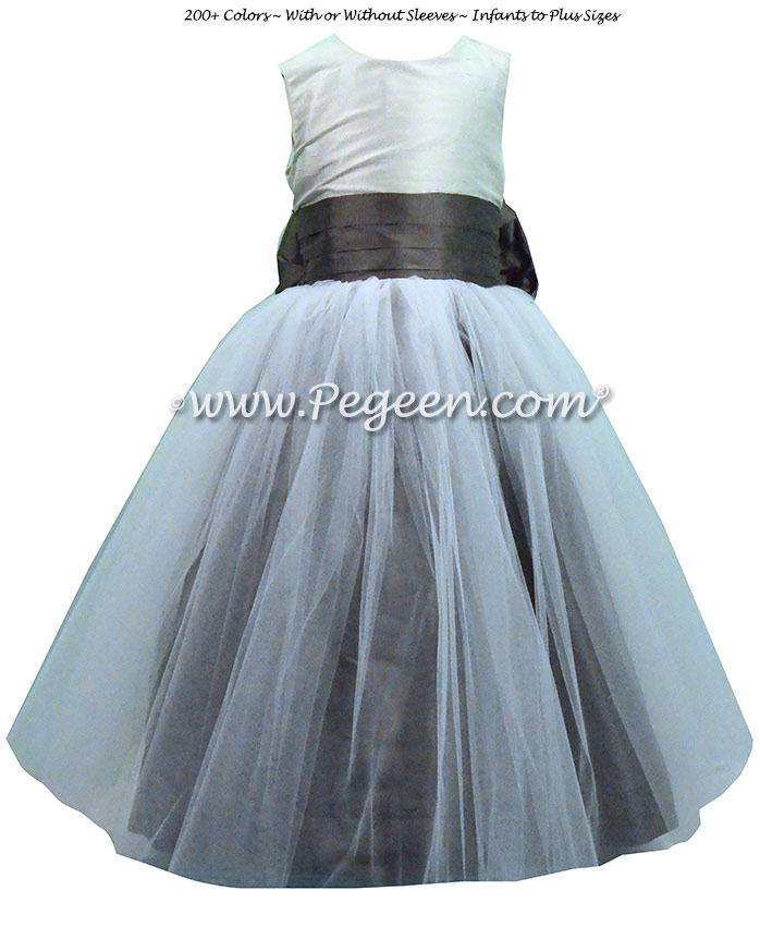 Platinum, Pewter and Medium Gray Silk Tulle Flower Girl Dresses