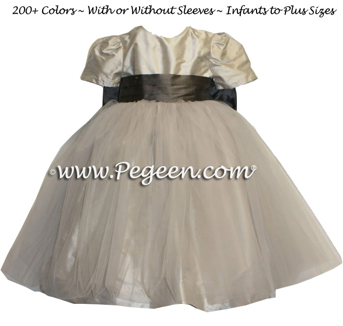 Silk Flower Girl Dresses in Platinum and Pewter Gray Tulle | Pegeen