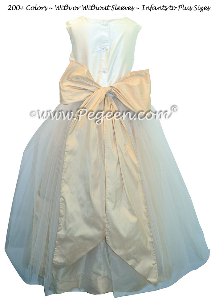 Flower Girl Dresses in New Ivory and Pure Gold Tulle