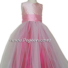 raspberry, bubblegum and petal pink tulle and silk flower girl dresses