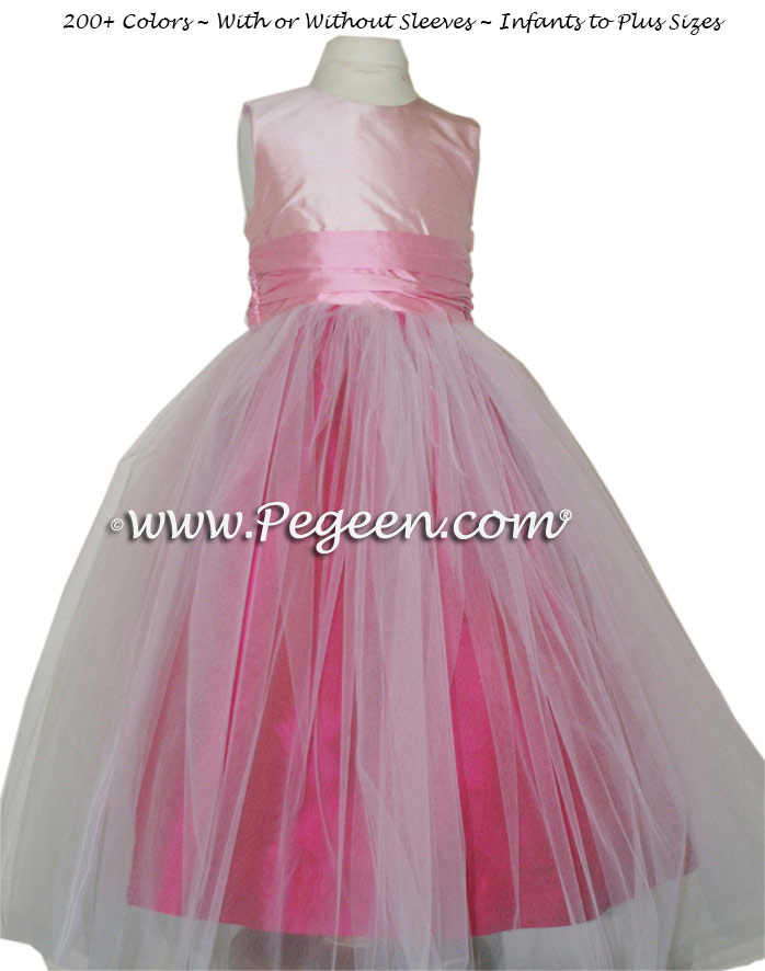 Flower girl dress in Raspberry, bubblegum and petal pink tulle and silk | Pegeen