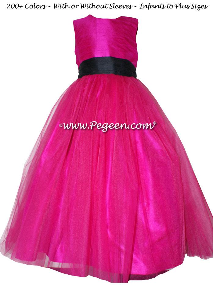 Raspberry, black tulle and silk flower girl dresses