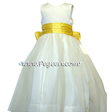 tulle and white and saffron flower girl dresses