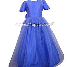 Sapphire Blue Silk Flower Girl Dresses - Pegeen Style 356