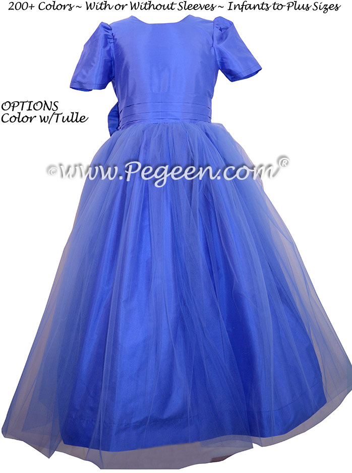 Flower Girl Dress Sapphire Blue Silk and Matching Tulle - Style 356 | Pegeen