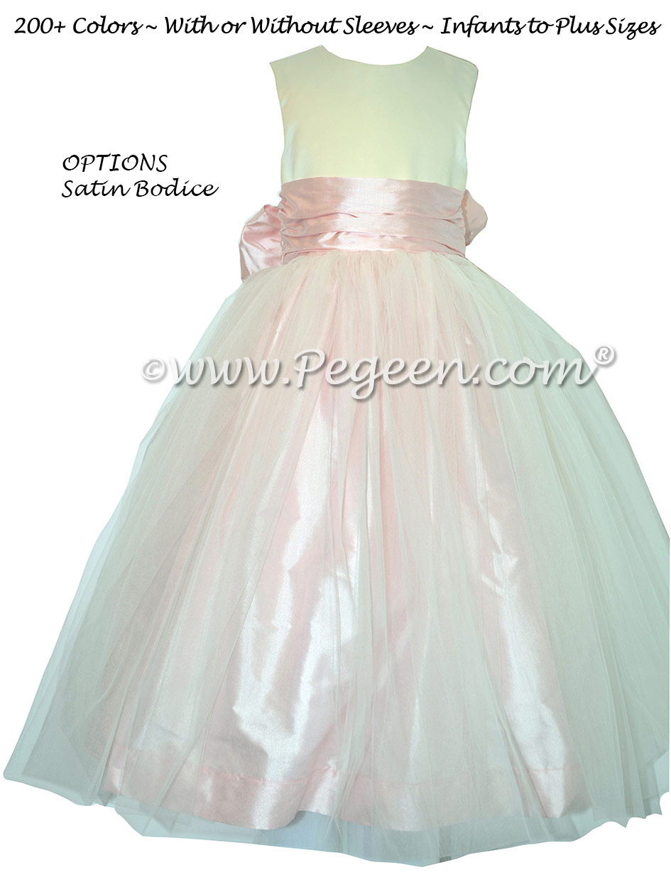 Ivory Satin and Peony Pink Silk and Tulle Silk Style 356 Flower Girl Dresses