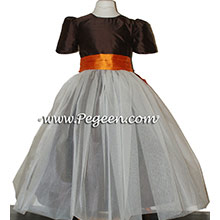 Chocolate brown and pumpkin orange tulle Flower Girl Dresses