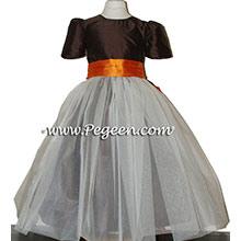 Chocolate brown and pumpkin orange tulle Flower Girl Dresses