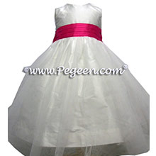 SHOCK AND NEW IVORY SILK WITH tulle flower girl dresses