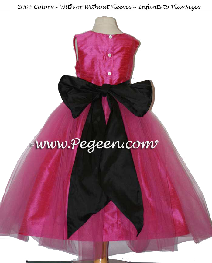 Shock Pink and Black Silk with Tulle Flower Girl Dress