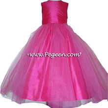 SHOCK PINK  SASH Silk Flower Girl Dresses by PEGEEN