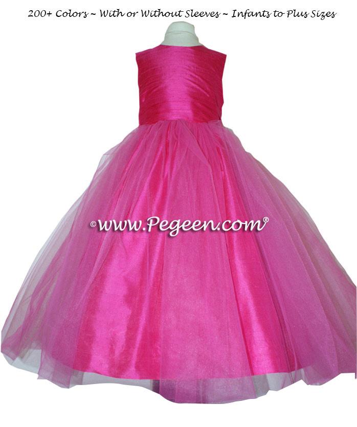 SHOCK PINK  SASH CUSTOM FLOWER GIRL DRESSES STYLE 356 BY PEGEEN