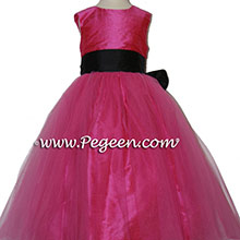 Shock pink and navy silk flower girl dresses