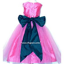 SHOCK PINK AND NAVY SASH CUSTOM Silk Flower Girl Dresses by PEGEEN