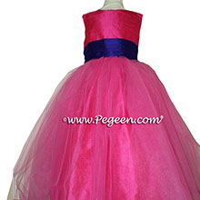 ROYAL PURPLE and SHOCK PINK  SASH Silk Flower Girl Dresses by PEGEEN