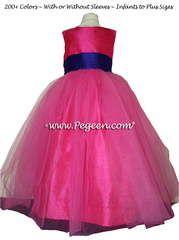 ROYAL PURPLE and SHOCK PINK SASH CUSTOM FLOWER GIRL DRESSES