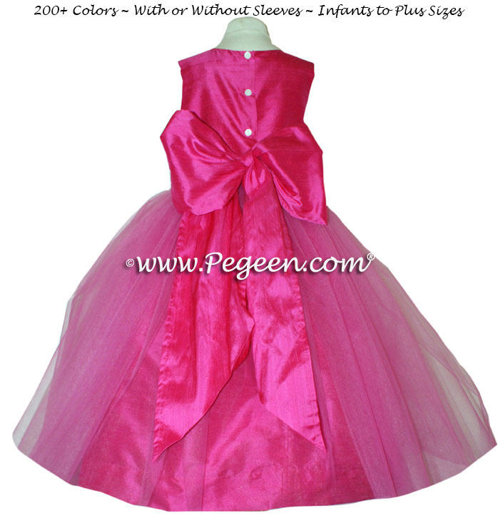 SHOCK PINK  SASH CUSTOM FLOWER GIRL DRESSES STYLE 356 BY PEGEEN