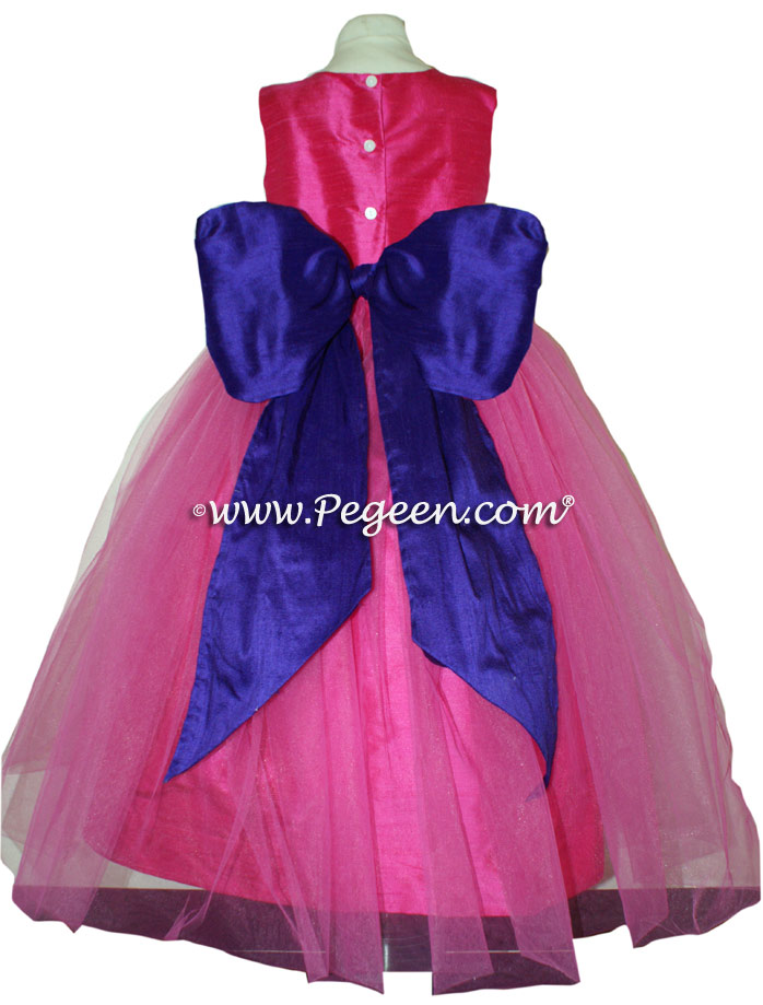 Purple and Hot Pink Custom Flower Girl Dresses Style 356