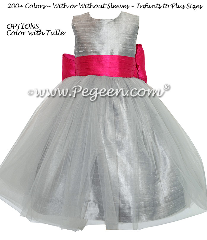 Silver Gray and Boing (Hot Pink) Flower Girl Dresses with Tulle