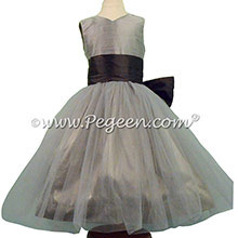 Medium Gray and Pewter Silk Flower Girl Dresses Style 356 - PEGEEN