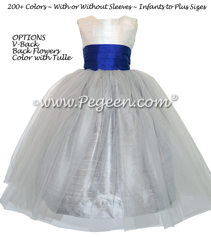 Flower Girl dresses with Gray Tulle, Gray and Sapphire Blue Style 356 | Pegeen