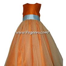 Tangerine and Spa Blue TULLE JUNIOR BRIDESMAID DRESS