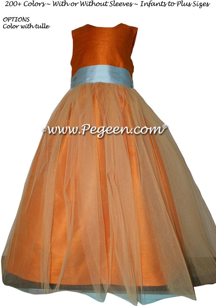 Tangerine and Spa Blue Tulle Flower Girl Dresses Style 356