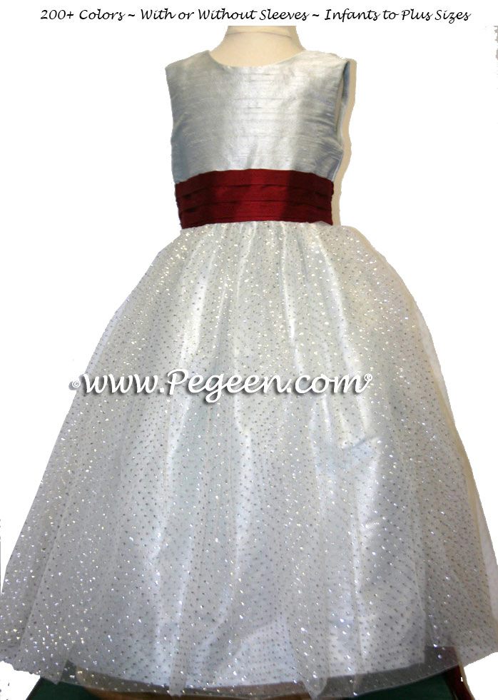 Flower girl dresses in platinum silver gray and cranberry red with sparkle silver tulle