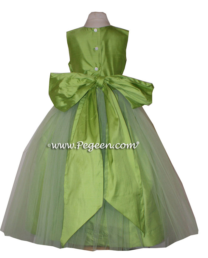 Flower Girl Dress of the Month Style 356 in Apple Green Silk | Pegeen