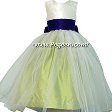 Sprite Green and Royal Purple Silk Flower Girl Dress of the Month Style 356 from Pegeen