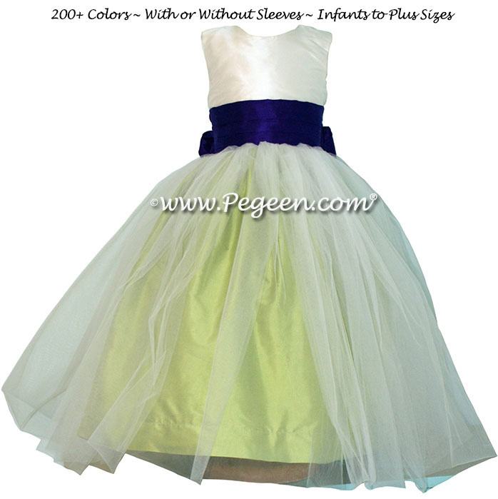 Flower Girl Dress in Sprite Green and Royal Purple Silk Style 356 | Pegeen