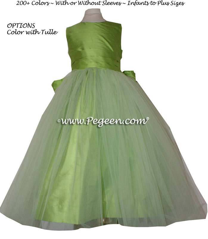 Flower Girl Dress Style 356 in Apple Green Silk | Pegeen