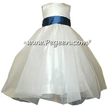Storm Blue and Antique White tulle ballerina silk flower girl dresses