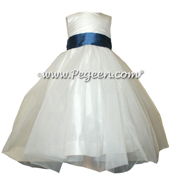 Storm Blue and Antique White Silk Ballerina Flower Girl Dresses