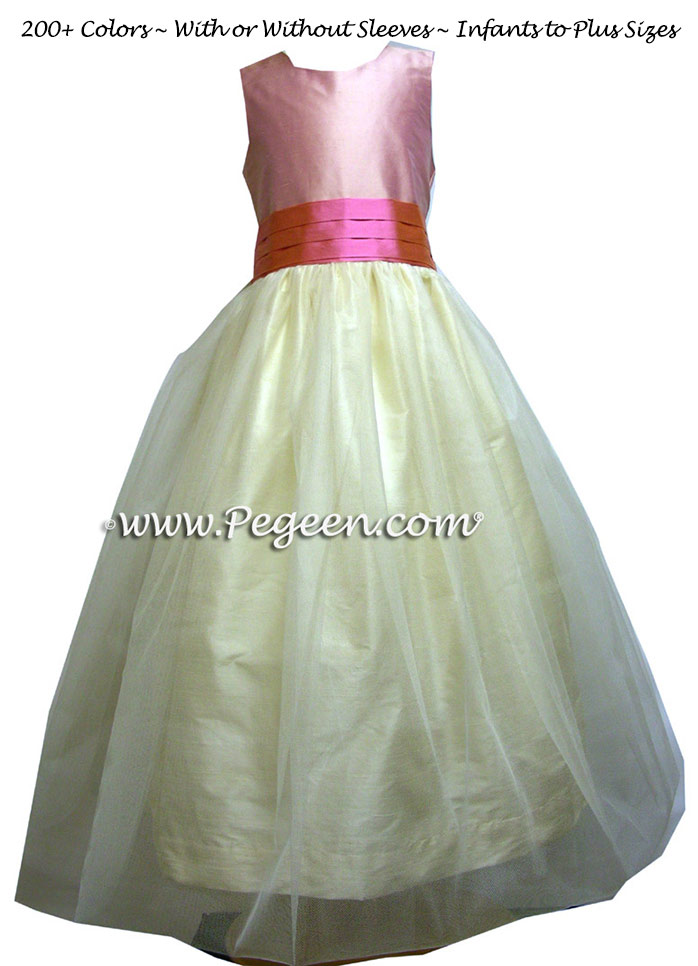 Strawberry Pink and Buttercreme Cinderella Bow TULLE FLOWER GIRL DRESSES