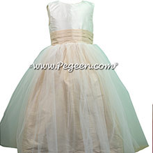 NEW IVORY AND TAWNY GOLD SASH Tulle Silk Flower Girl Dresses from Pegeen